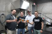 Dave Warwick of Three Notch'd sharing a glass of Saison with Tim Brady, Ben Trumbo and Jamie Long of Pale Fire
