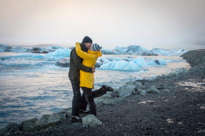 Romantic Jokulsarlon Glacier Lagoon in Iceland