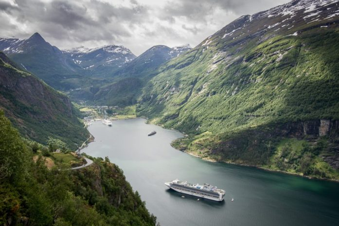 Cruise ship coming to Geirangerfjord