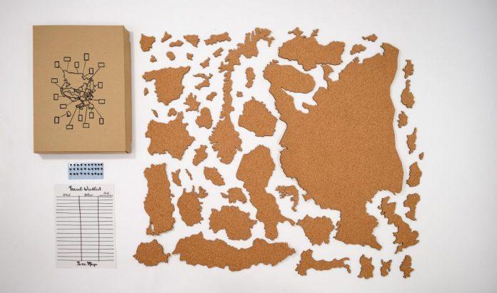 korková mapa Evropy