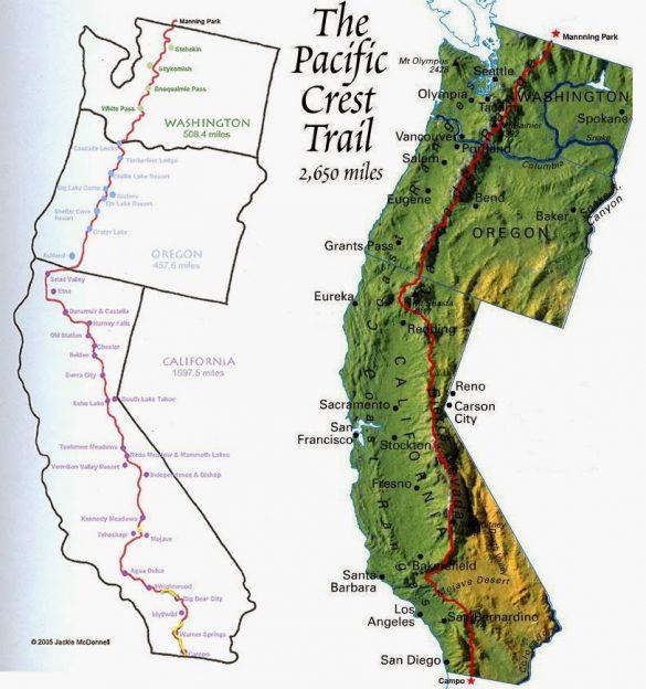 Pacifická hřebenovka mapa