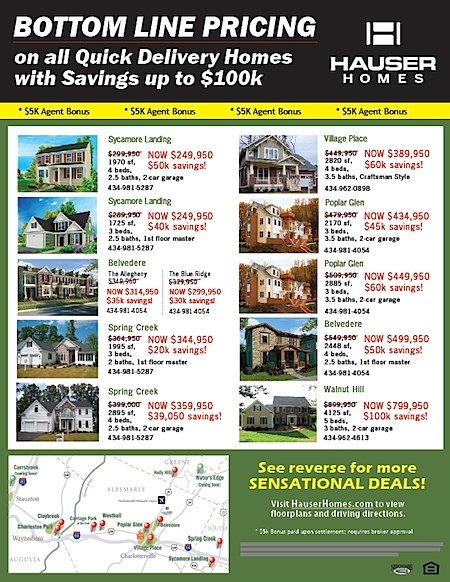 "Hauser Homes in Charlottesville offering huge ""discounts"" on Homes in new developments in and around Charlottesville"