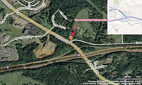 Map of US 250 & Hansens Mountain Rd, Charlottesville, VA 22911 - Bing Maps.jpg