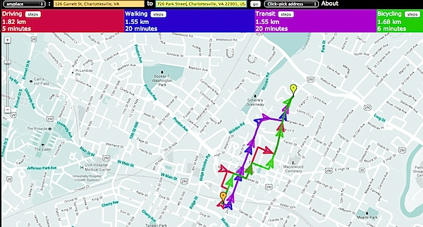 Side-by-Side Router - Compare routes for driving, biking, walking, and transit