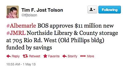 Twitter _ tfjtolson_ #Albemarle BOS approves $11 ....jpg