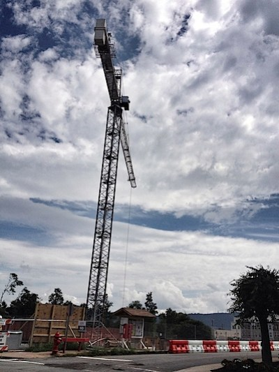 Crane at West Main Plaze in City of Charlottesville