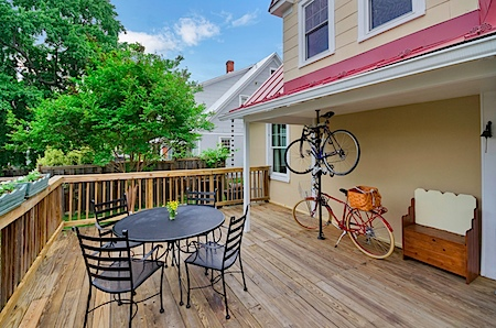 Bikes on a deck in Charlottesville