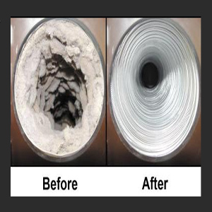 A before and after view of a thorough Dryer Vent Cleaning
