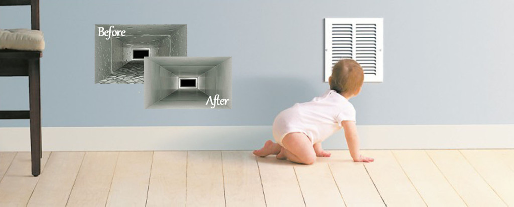 A visual representation of air duct cleaning services provided by Real Clean Air