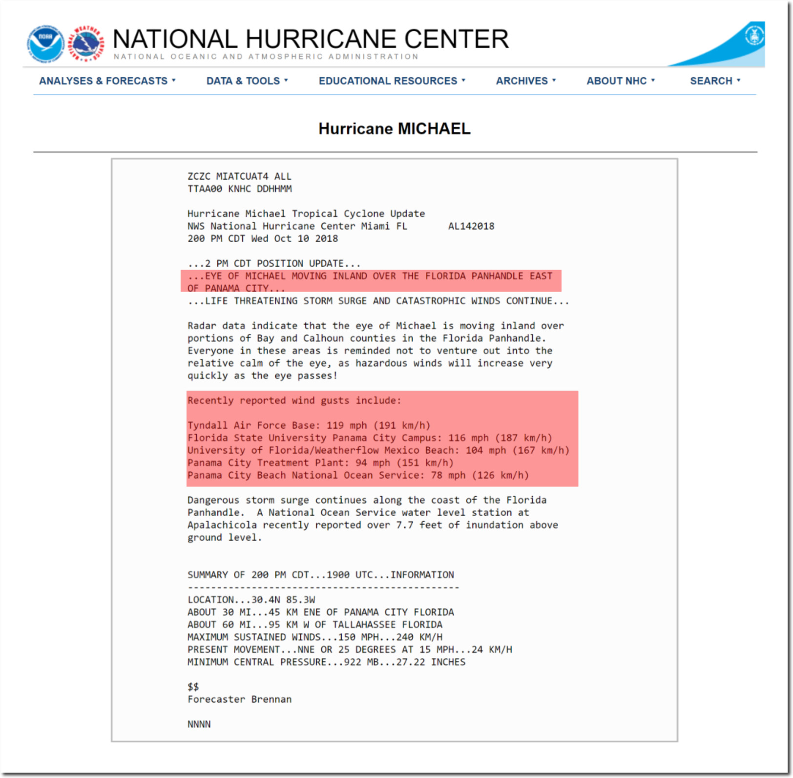 Hurricane Category 2 Wind Speed