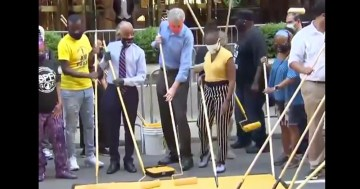 "Bill de Blasio & Al Sharpton Paint ""Black Lives Matter"" On Street In Front Of Trump Tower"