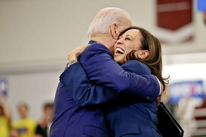 Biden Harris hug