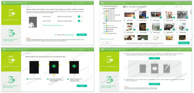 FonePaw Android Data Recovery Crack 4 different Screenshots