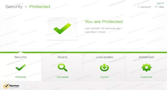 Screenshot of Norton Antivirus
