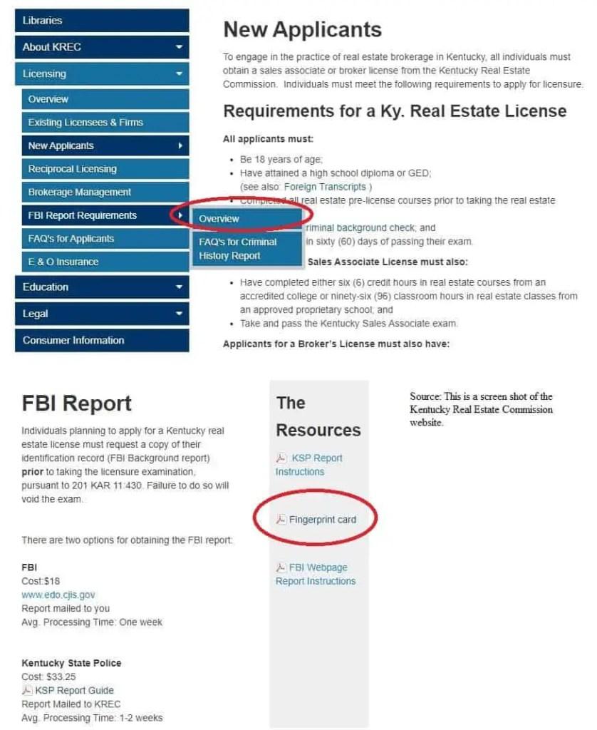 Kentucky real estate sales associate fingerprint card