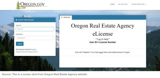 Oregon Real Estate Agency eLicense