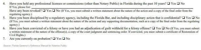 Florida notary public felony questions