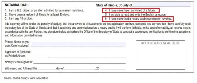 Illinois notary public application felony question