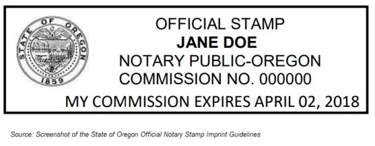 Oregon Official Notary Stamp Imprint Guidelines
