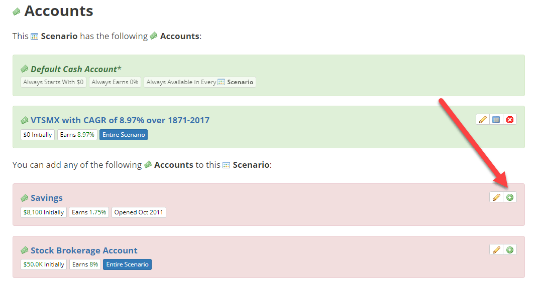 Add Account to Scenario