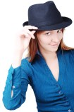 woman tipping hat