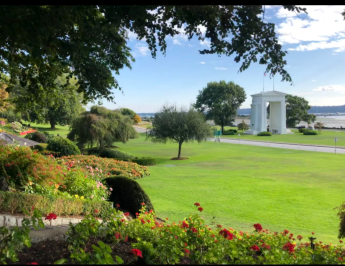 Peace Arch Park, at the border of the United States and Canada