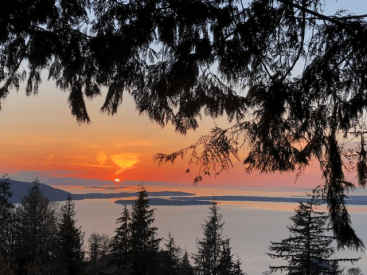 Sunset with a view of the San Juan islands in Bellingham Washington