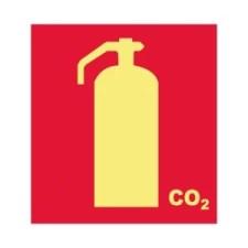 Placa Fotoluminescente Extintor de Incêndio CO2 E5