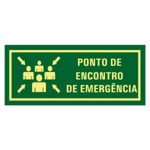 Placa de sinalização fotoluminescente rota de fuga ponto de encontro