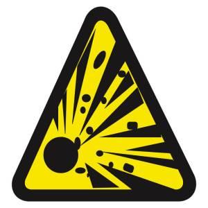 Placa sinalização fotoluminescente cuidado risco de explosão A3