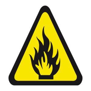 Placa sinalização fotoluminescente cuidado risco de incêndio A2
