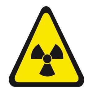 Placa sinalização fotoluminescente cuidado risco de radiação A6