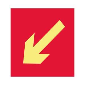 Placa sinalização fotoluminescente indicativa de equipamento combate a incêndio seta esquerda abaixo E15