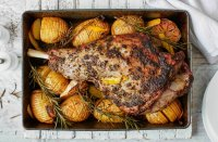 Roast Lamb with Hasselback Potatoes