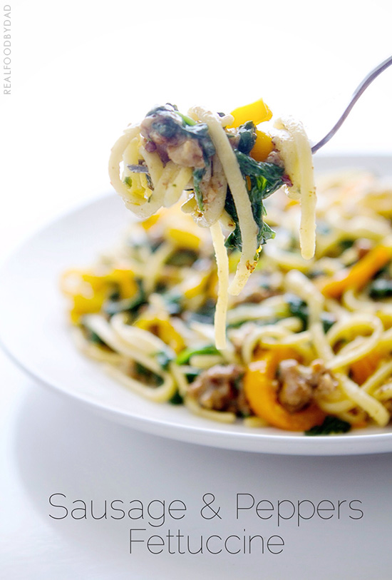 Sausage and Peppers Fettucine via Real Food by Dad