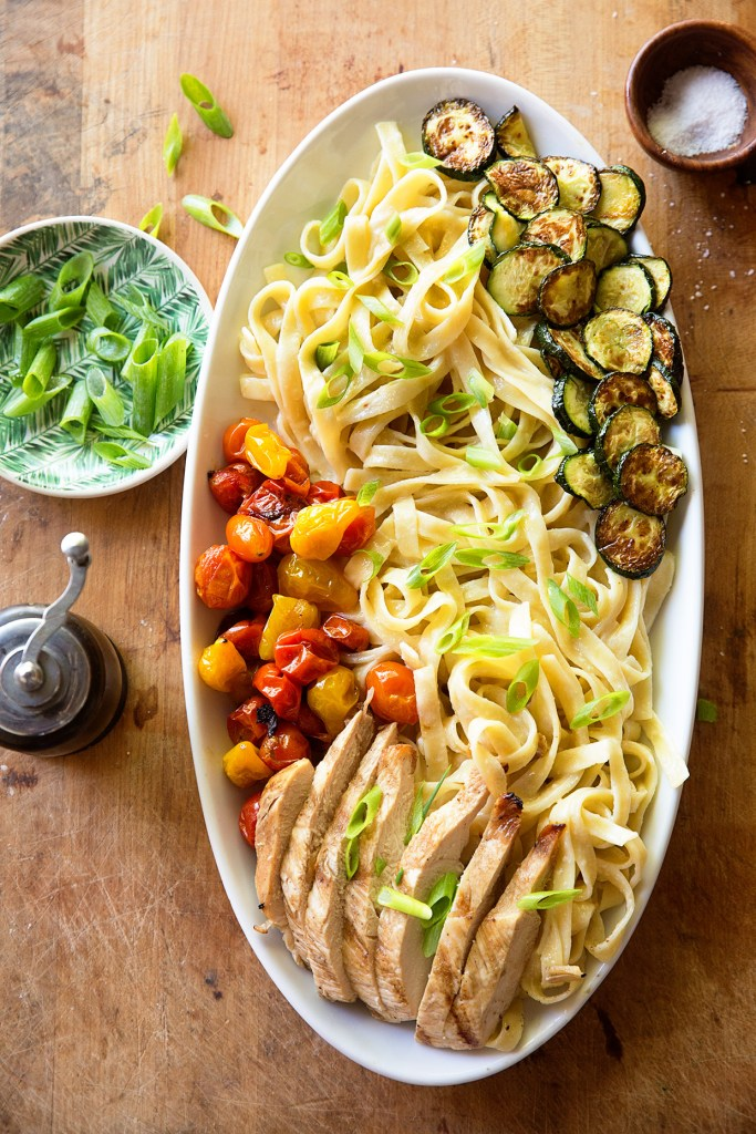 Chicken Alfredo with Roasted Summer Vegetables | Real Food by Dad