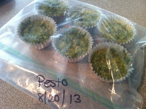 frozen pesto in freezer bag
