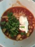 white bean chili -- I like lots of cilantro!