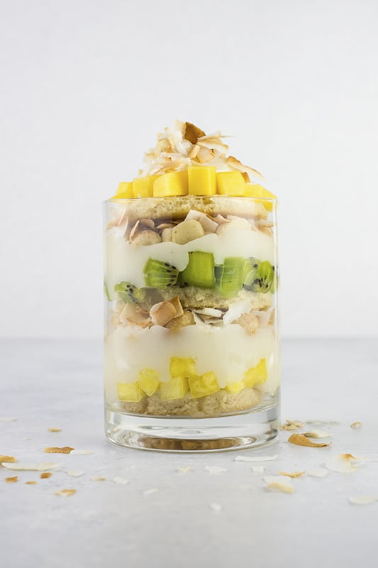 Vegan Tropical Fruit Trifle | A deliciously light and healthy dessert with mango, kiwi, pineapple, and coconut.
