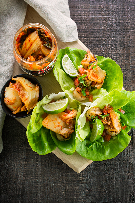 Shrimp And Kim Chee Lettuce Cups Real Food Mostly Plants