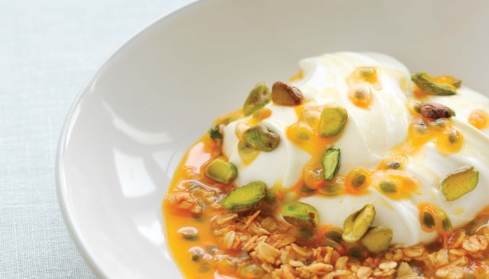 Coconut Yogurt with Passion Fruit and Crunchy Granola