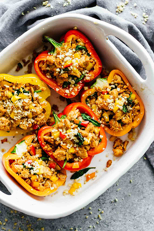 The Best of Whole30 Recipe Roundup l spicy southwest whole30 stuffed peppers