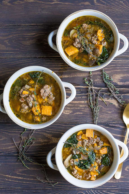 The Best Whole30 Recipe Roundup l slow cooker sausage kale and sweet potato soup