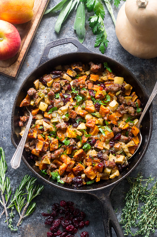 Healthy Thanksgiving Sides Recipe Roundup l butternut sausage stuffing
