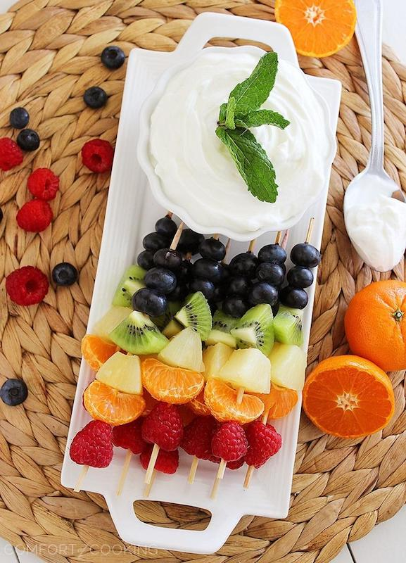 Fruit platter, fruit with yogurt dip, fresh fruit platter, yogurt fruit dip