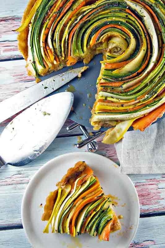 veggie tart, spiral veggie
