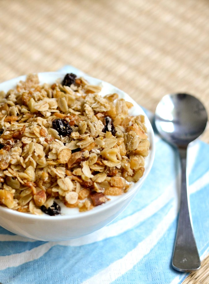 Homemade granola is a healthy, high-protein breakfast or snack. Put it in a jar for a wonderful holiday or housewarming gift.