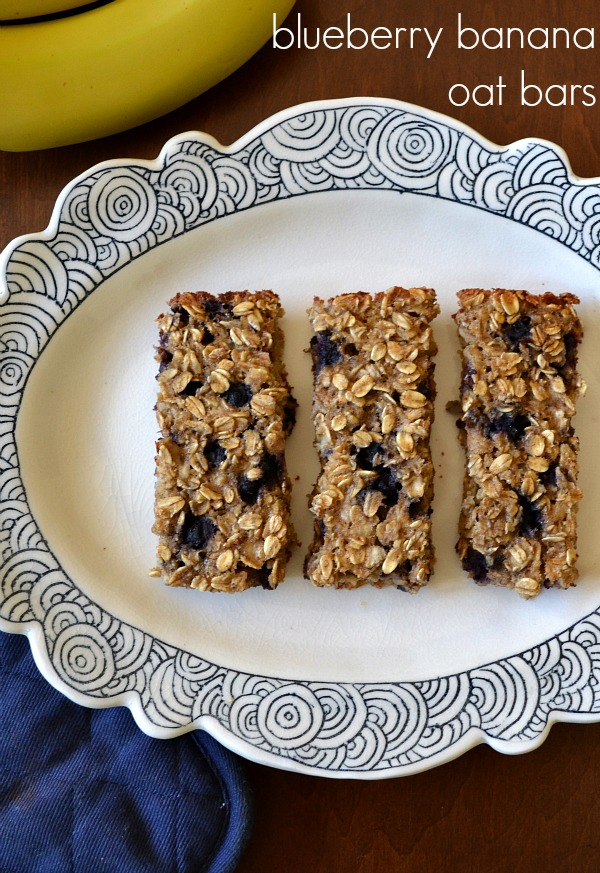 These soft blueberry banana oat bars are so delicious! I love to keep this healthy snack recipe on hand for a quick bite between meals.