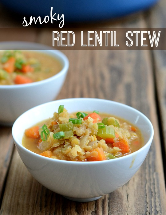 This Smoky Red Lentil Stew is such a delicious vegan dinner recipe! At $.62 a serving, it's also great if you're on a frugal budget.