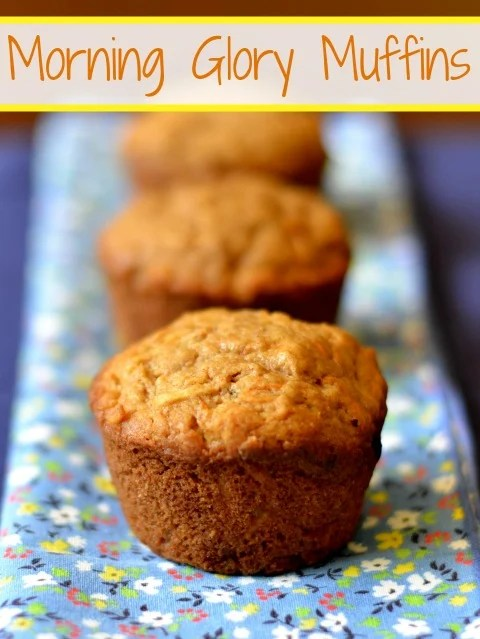 These morning glory muffins are a delicious, healthy snack full of fruits and vegetables. You can also grab one for breakfast on your way out the door.